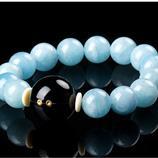 來電提醒監測睡眠計步 海藍寶手串女天然水晶手鏈 智能手環飾品