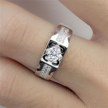 丽美都 925纯银仿真婚戒开口戒指 指环 S925纯银尾戒 男士戒指(赠擦银布+首饰盒)