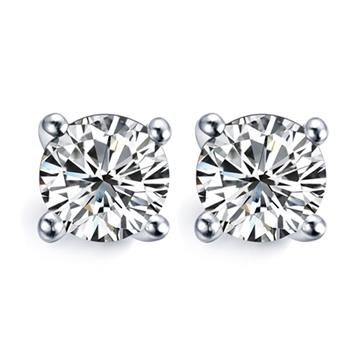 地球城钻石白18K金30分钻石耳钉耳环四爪圆头